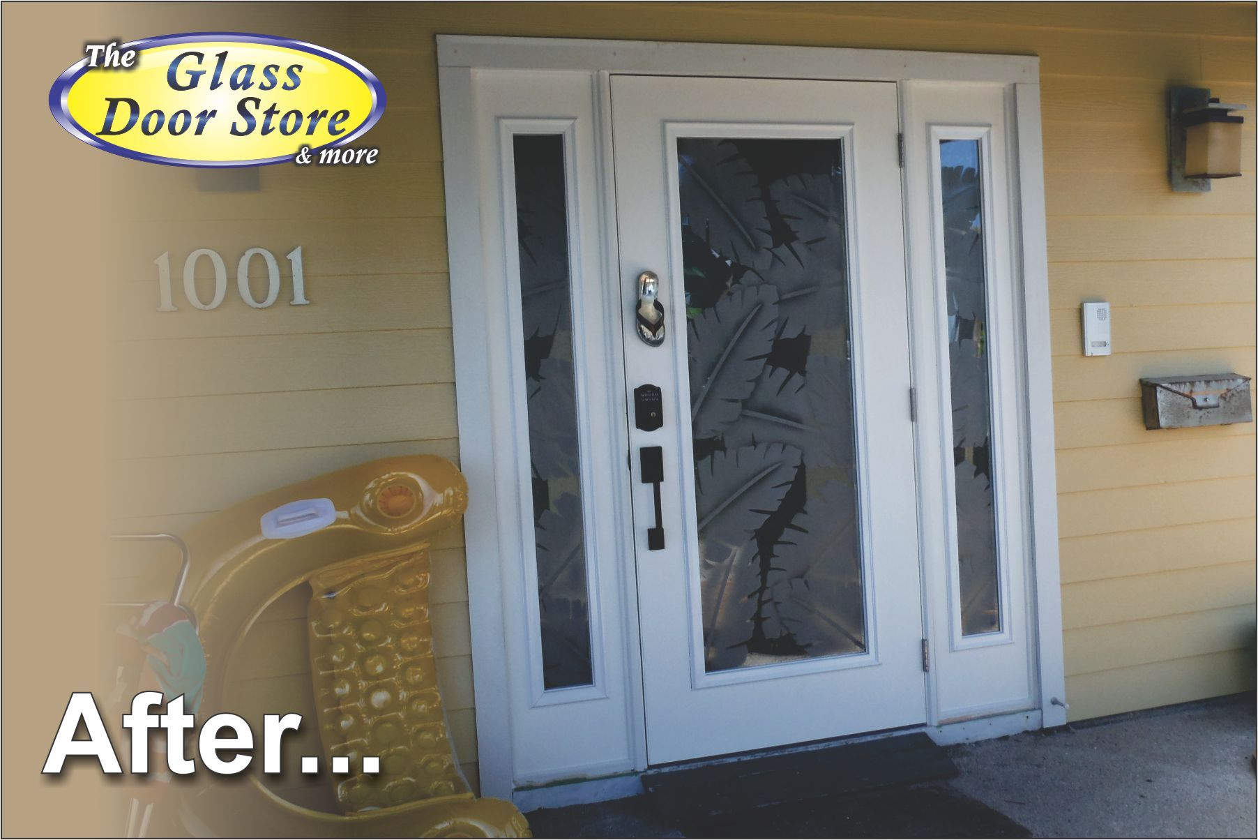 etched palm leafs on hurricane impact single door with sidelights