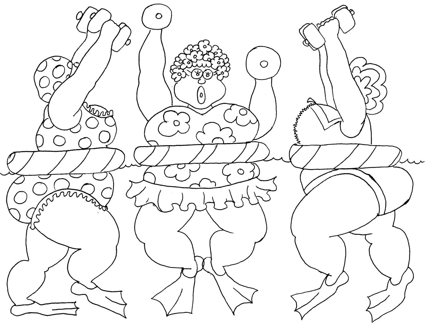 aqua fit ladies funny coloring page by chubby art cartoons