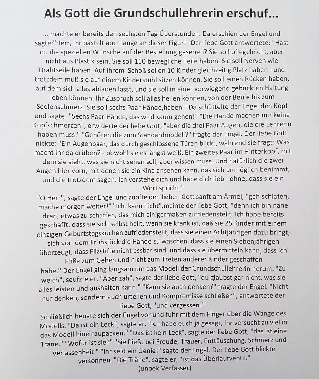 Als Gott Die Grundschullehrerin Erschuf Diesen Text Hat Uns Unsere Lehrbeauftragte Im Deutsch Seminar Vorgelesen Das Wort Bzw Der Text Zum Sonntag Wa