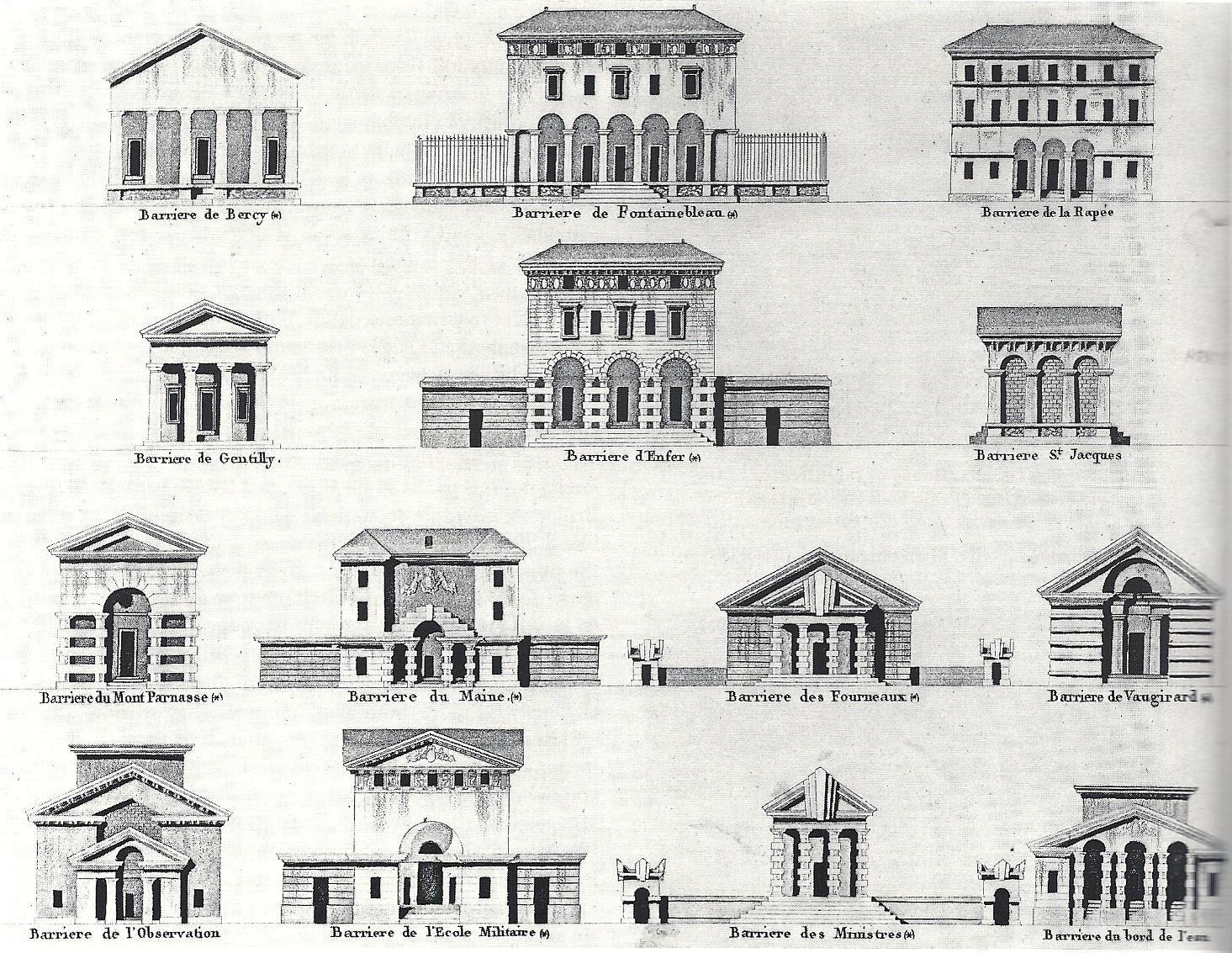 르두 Claude Nicolas Ledoux Paris Barriere Neoclassical Architecture Architecture Drawing Facade Design