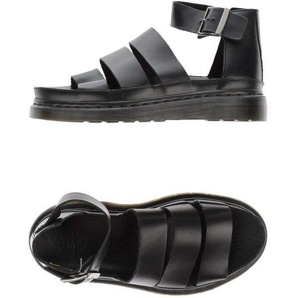 Dr. Martens Sandals (3,015 MXN) ❤ liked on Polyvore featuring shoes, sandals, black, ankle tie sandals, black flat shoes, ankle wrap sandals, flat leather sandals and ankle strap sandals
