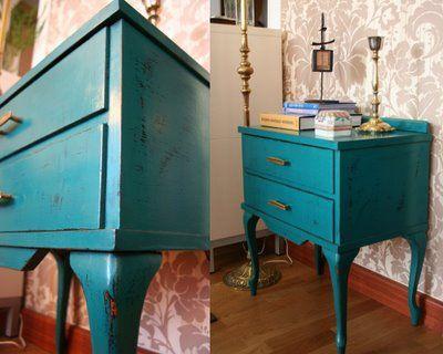 Restauraci n de una mesita de noche azul aguamarina - Restauracion muebles vintage ...