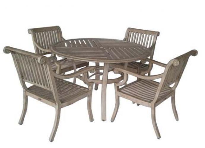 Aged Teak Wood Finish Aluminum Patio Dining Set