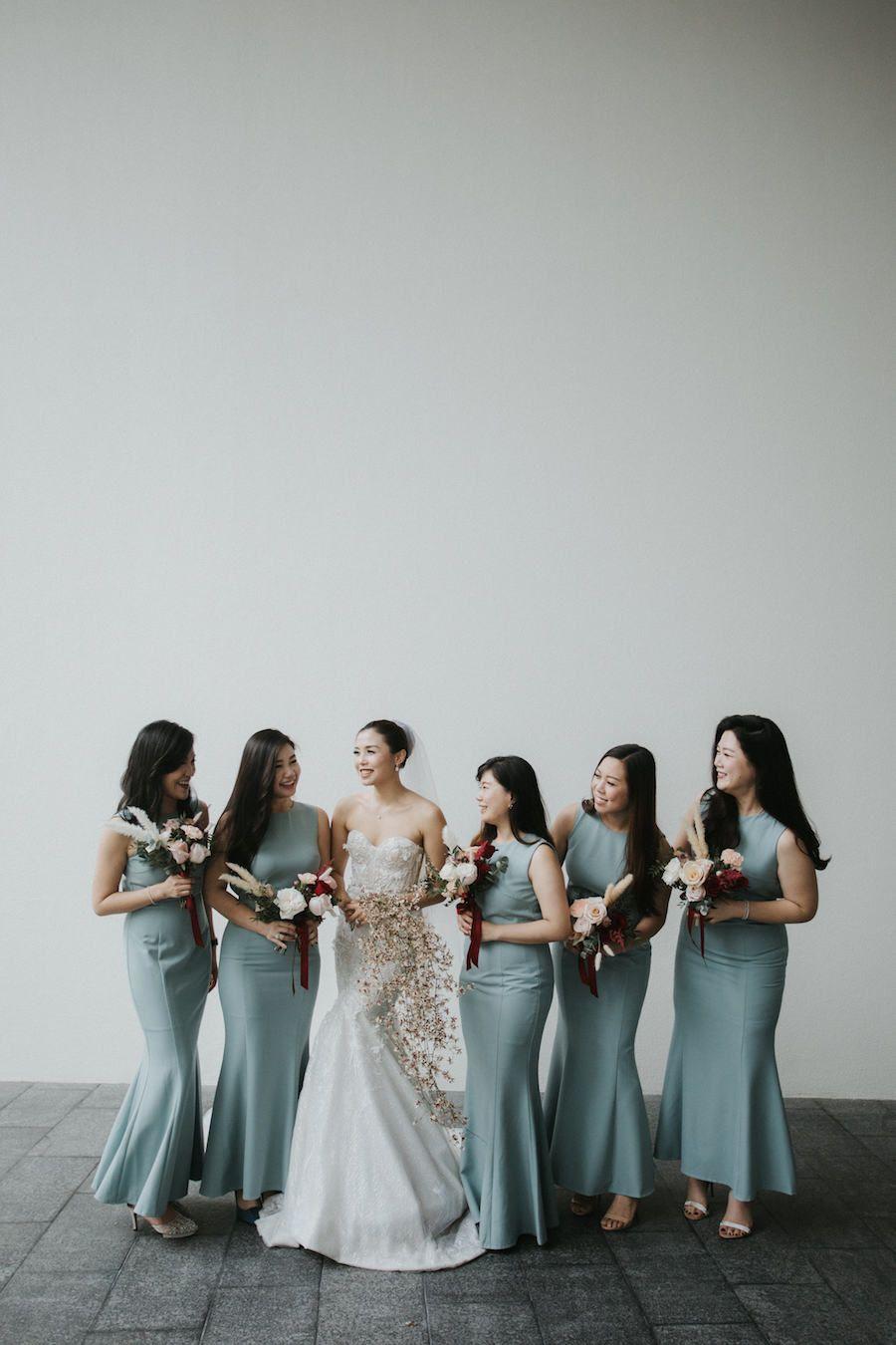 Sophisticated Chic Singapore Wedding With Classic Details Modwedding Wedding Entourage Gowns Bridesmaid Dresses Singapore Wedding Entourage [ 1350 x 900 Pixel ]