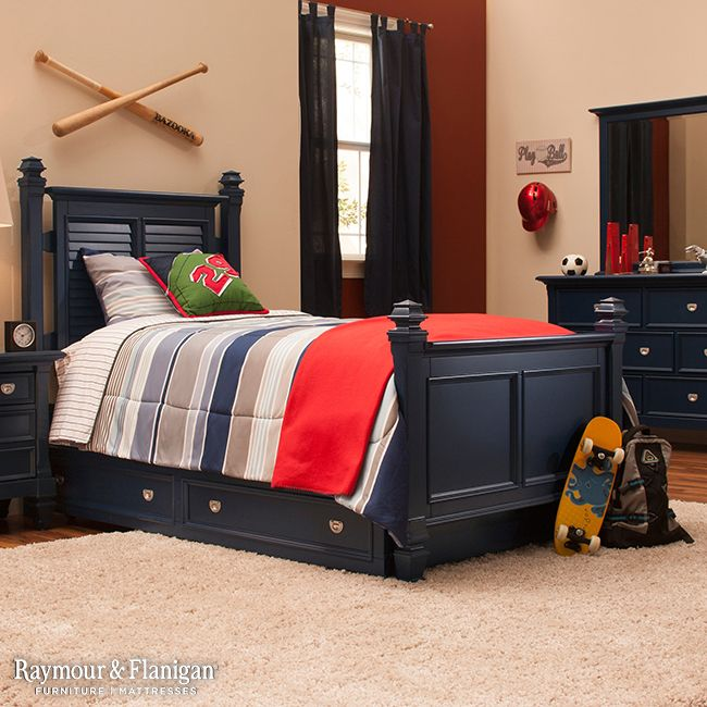 Varsity Kids Twin Post Bed W Trundle Navy Blue Dj Room Trundle Bed Bed