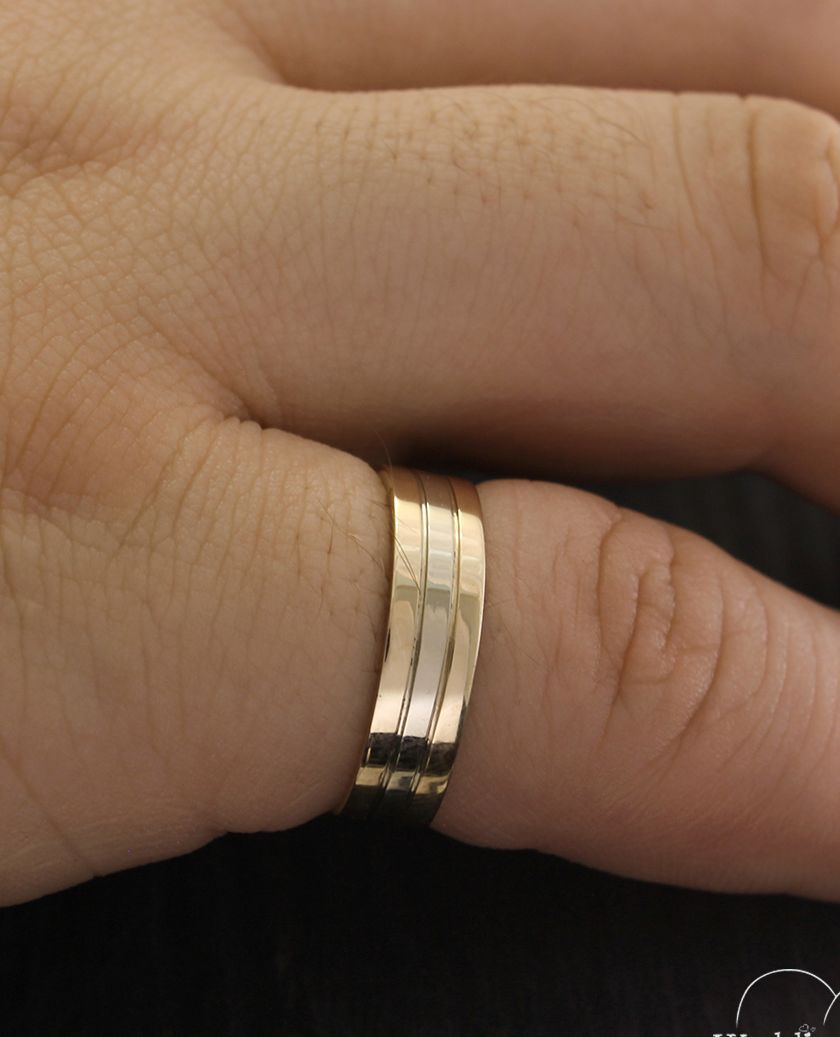 Faceted Ring Gold Classic Wedding Ring Wedding Bands For Him Vintage Band Ring 14K Solid Gold Mens Band Ring Hammered Yellow Gold Ring