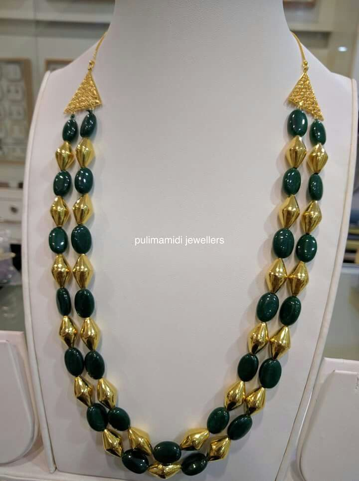Pm Green Haram Black Beaded Jewelry Beaded Necklace Designs Gold Jewelry Fashion