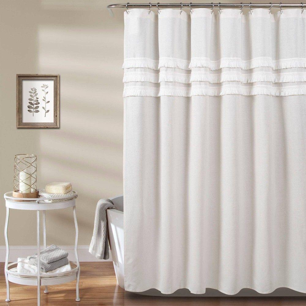Ciel Tassel Shower Curtain White Lush Decor Elegant Shower