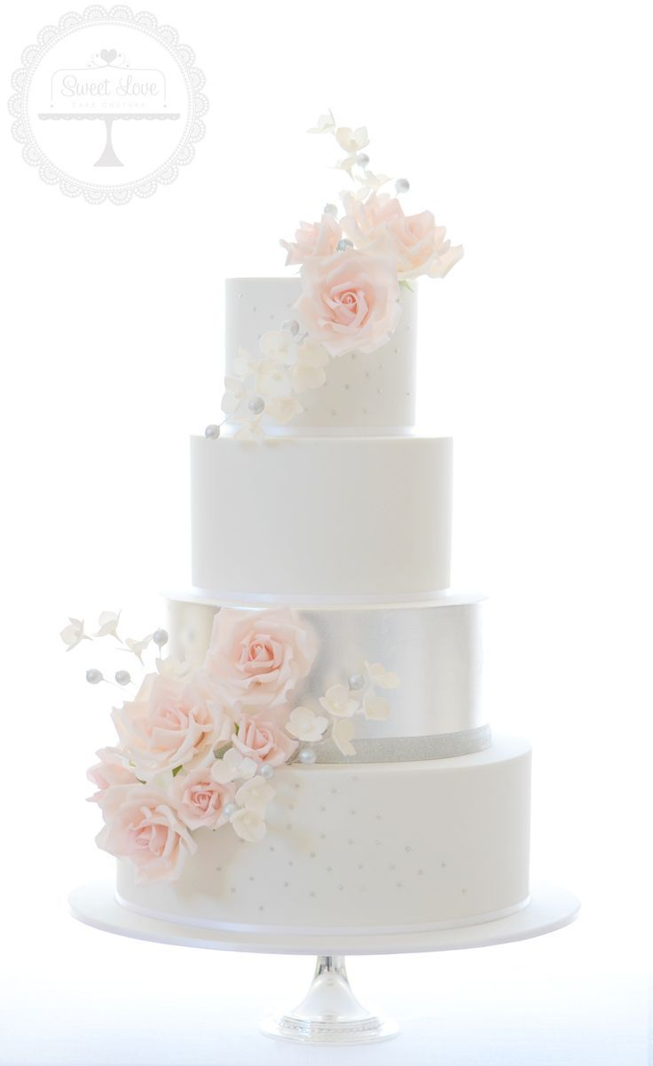 The ultimate in elegant wedding cakes - featuring edible silver leaf ...