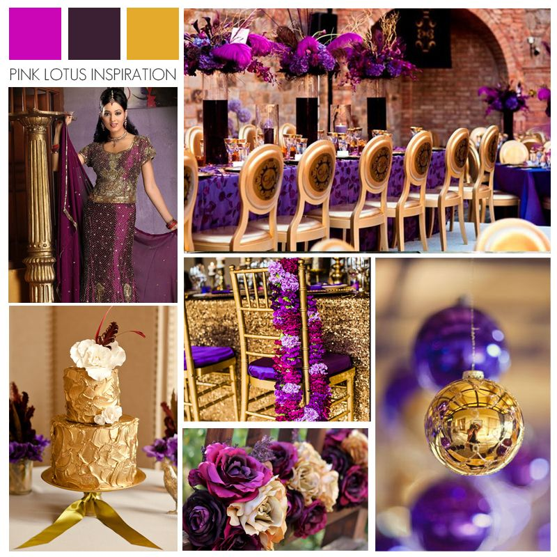 Color Board Fuschia Plum And Gold Pink Lotus Events Www