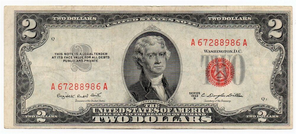 One 1953 C Red Seal Note 2.00 Dollar Bill Federal Reserve circulated