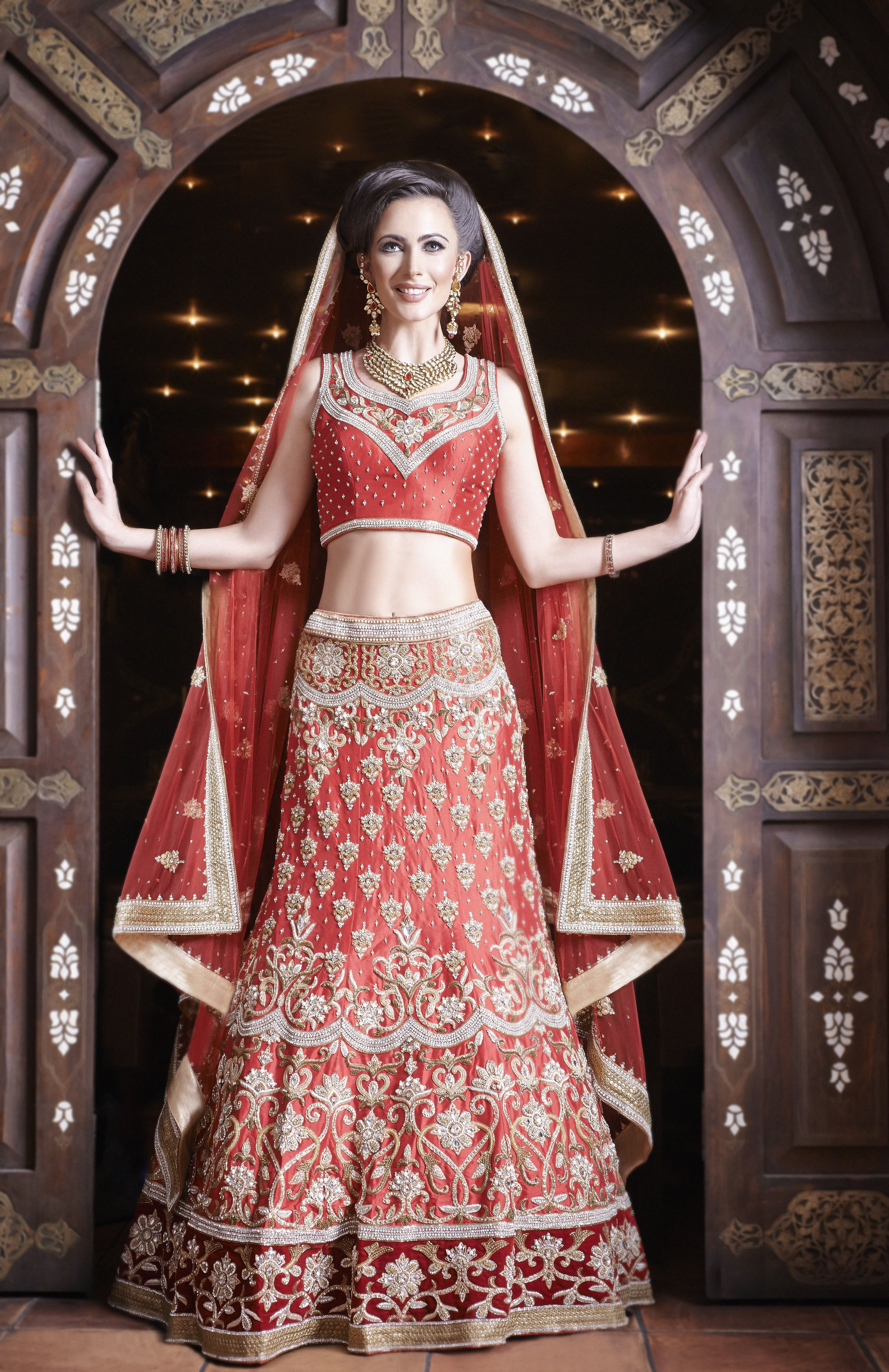 WB18 - red raw silk heavily embroidered 8 panel lengha with diamante ...