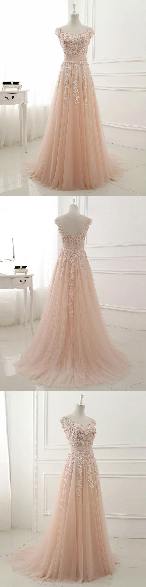 A-line Lace Appliqued Illusion Neck Long Simple Prom Dresses APD3020