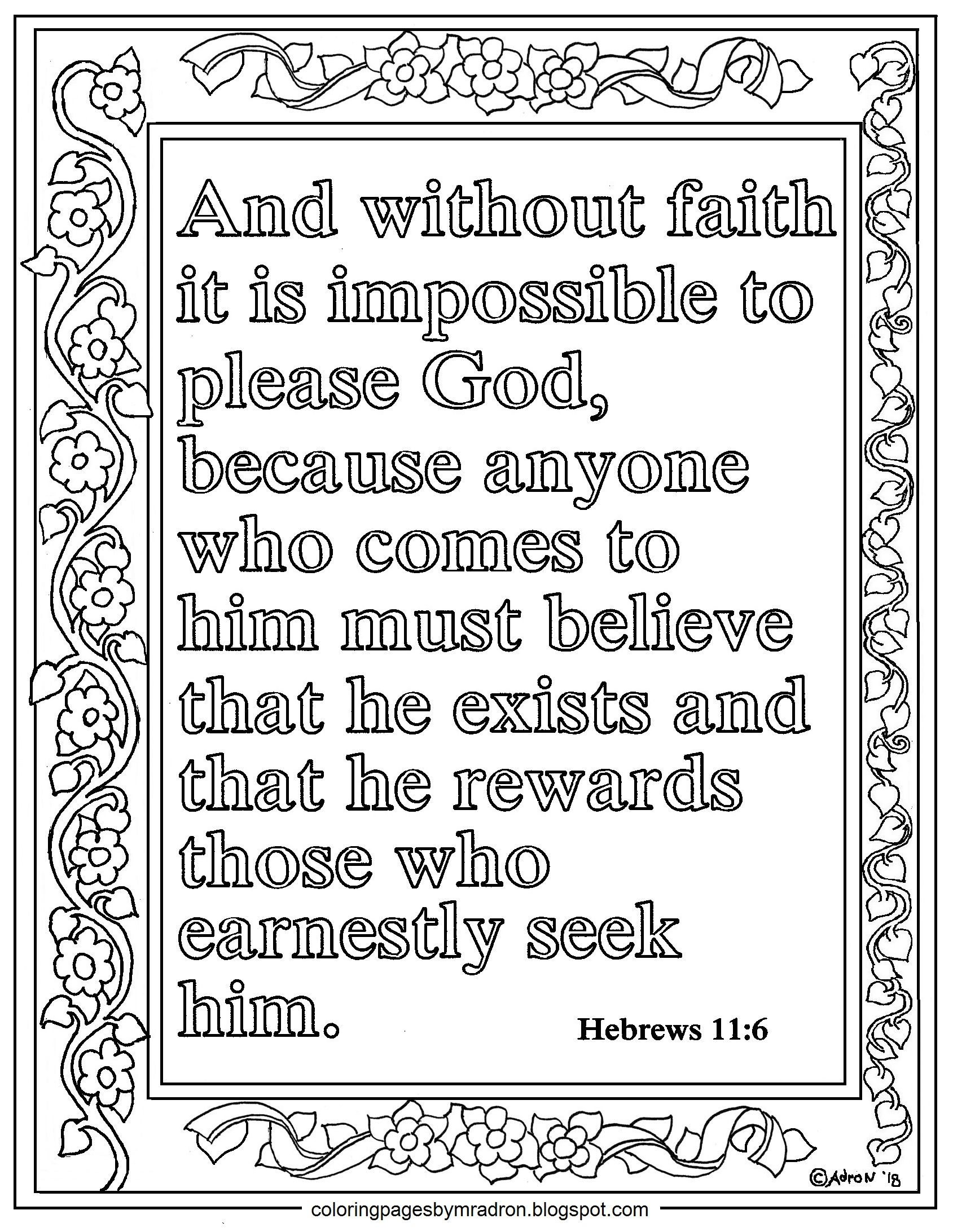 Hebrews 11 6 Print And Color Page Without Faith It Is Impossible