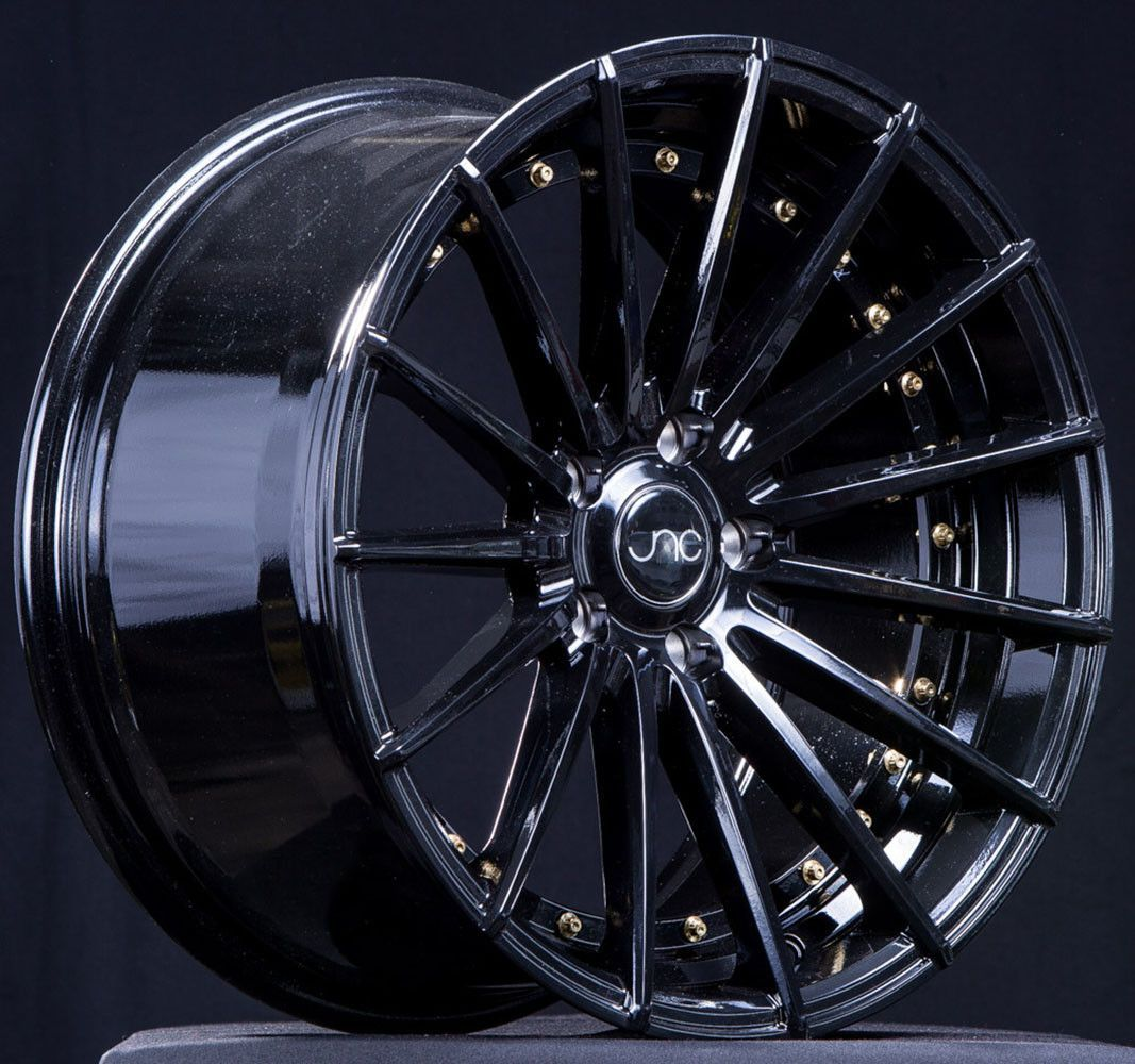 Used Harley Davidson Wheels >> Jnc042 Gloss Black Gold Rivets Custom Choppers Classic