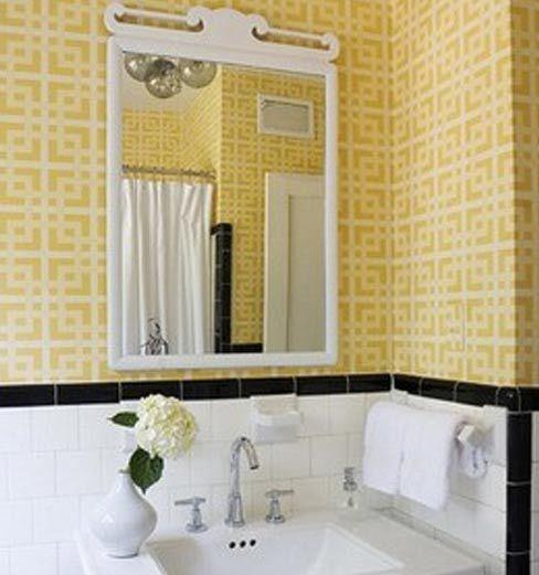 Black White Yellow Bathroom: Golden Yellow With White And Black Tile