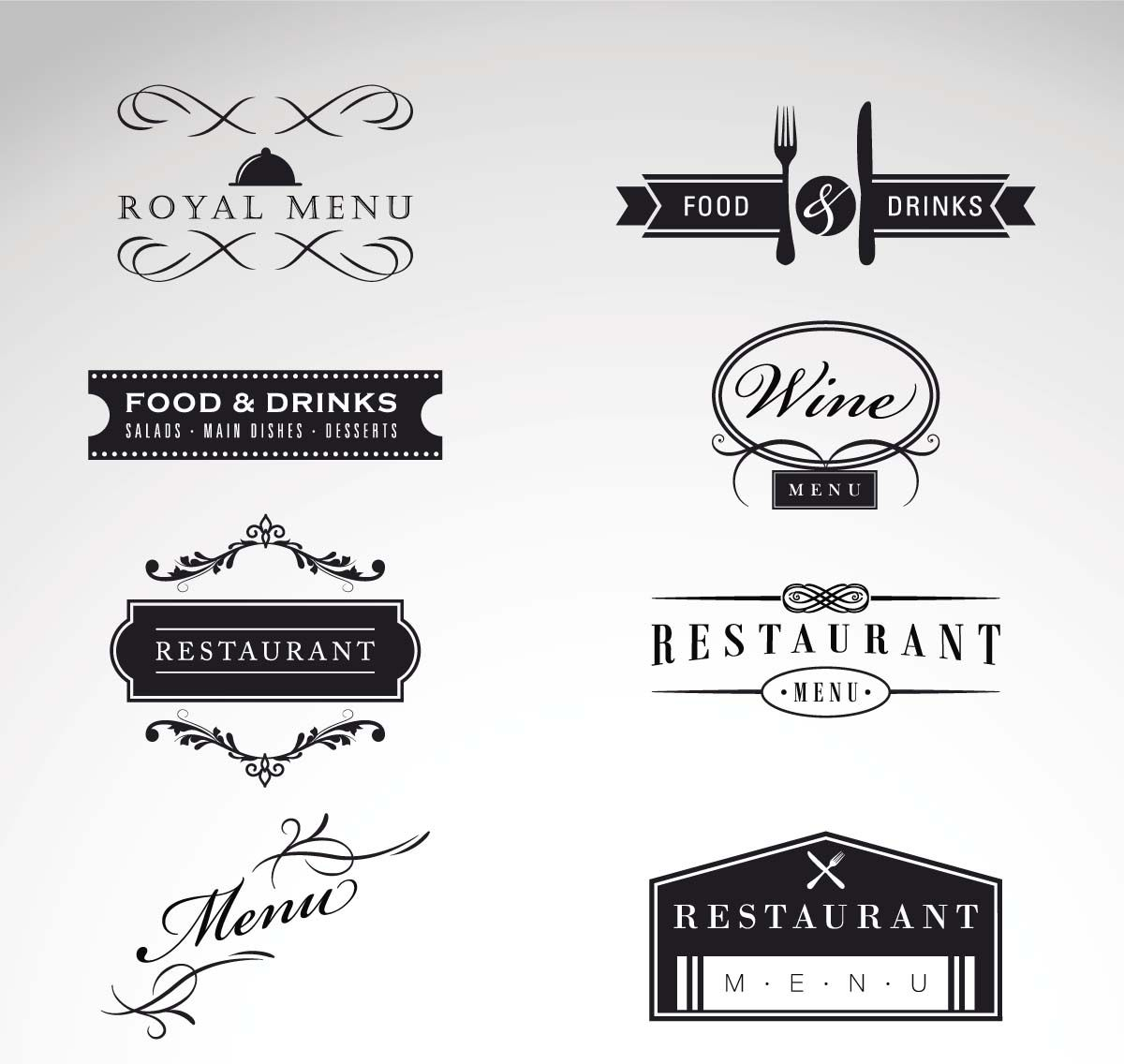 Vintage logo restaurant menu vector set | Retro cafe, Logos and ...