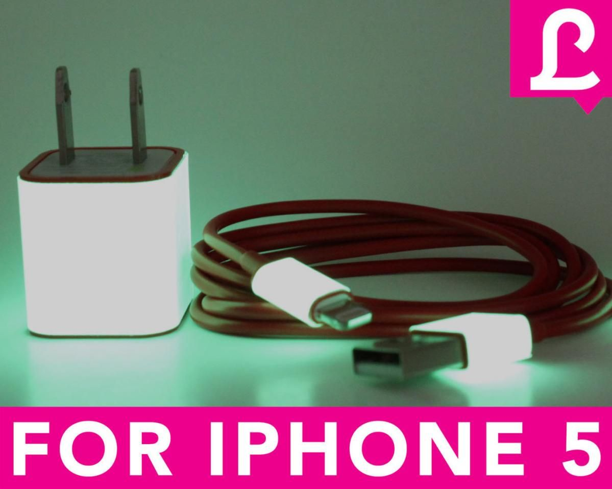 Glow In The Dark IPhone 5 Charger 2 in 1 Glow In The Dark