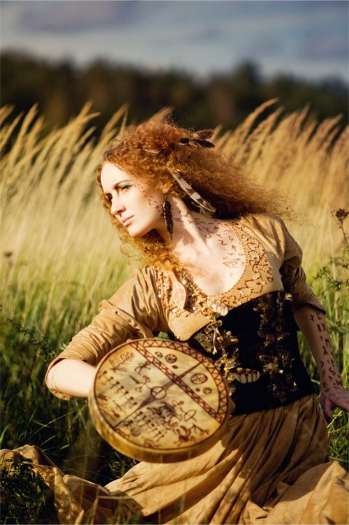 pagan  musician with her bodhran