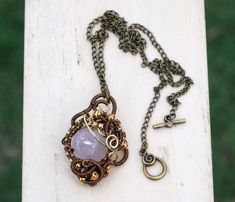 Rose Quartz Love Stone Pendant Wire Wrap Heart Shape Pink Small Necklace #Jeanninehandmade #Pendant