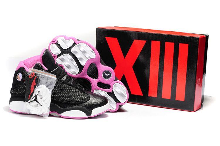 reputable site 9f012 7c57f Air Jordan 13 Hardback Black Pink White Shoes