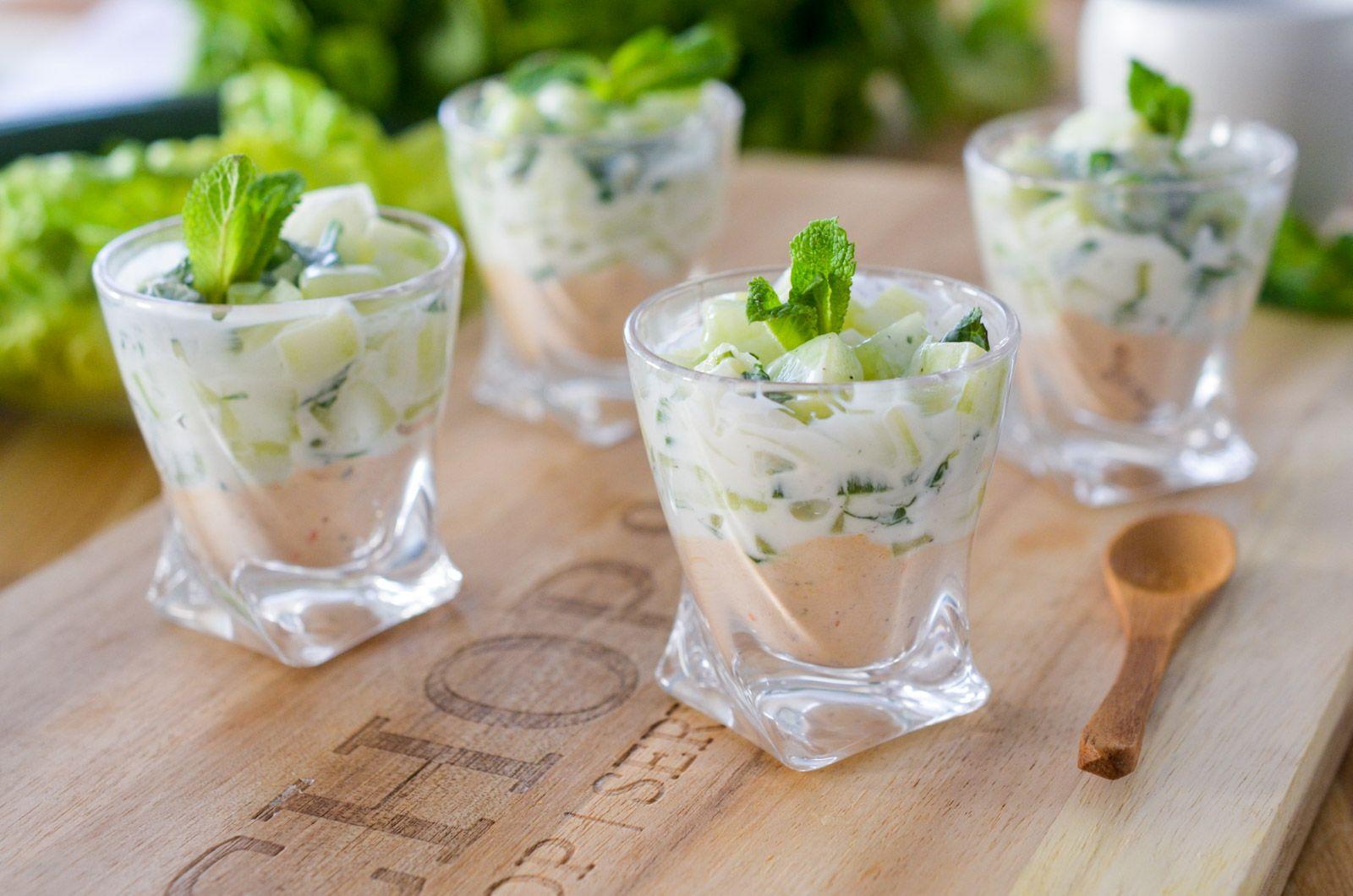 verrine de concombre aux rillettes de thon