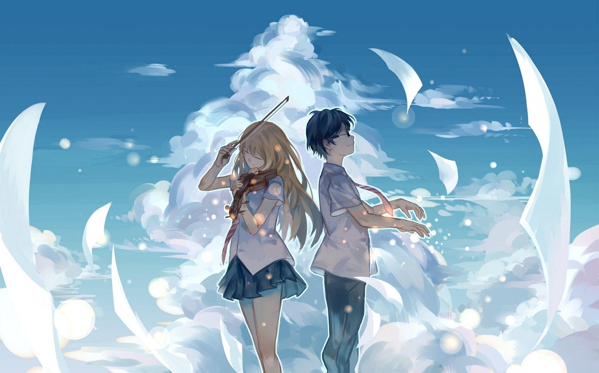 Kaori Miyazono Kōsei Arima Shigatsu Wa Kimi No Uso Gambar Anime Pasangan Anime Lucu Seni Anime