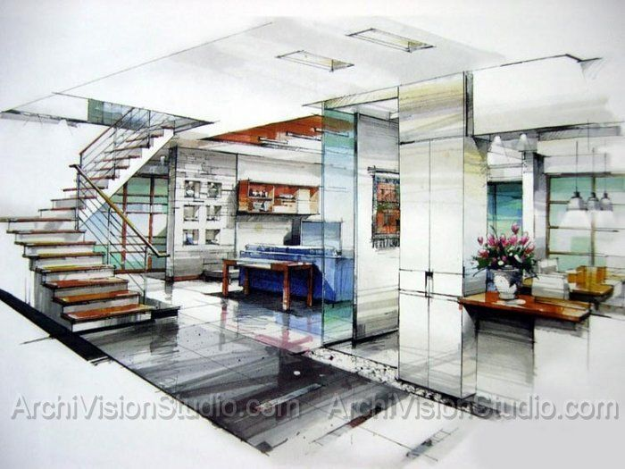 Interior design hand renderings google search interior for Interior design sketches
