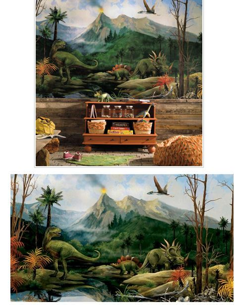 Dinosaur xl wall mural wall sticker outlet boys room for Dinosaur land wall mural