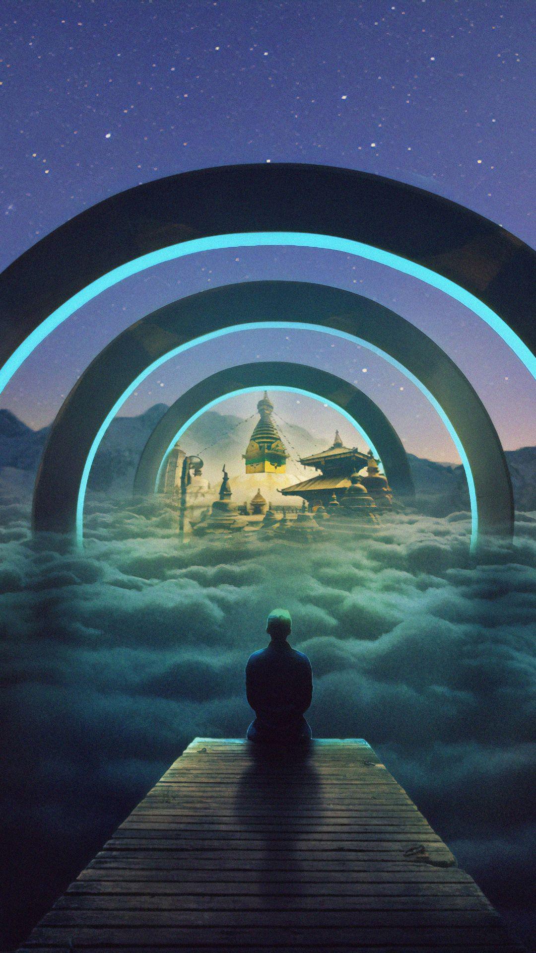 1080x1920 Man Outdoor Night Fantasy Art Wallpaper Fantasy Landscape Fantastic Art Futuristic Art