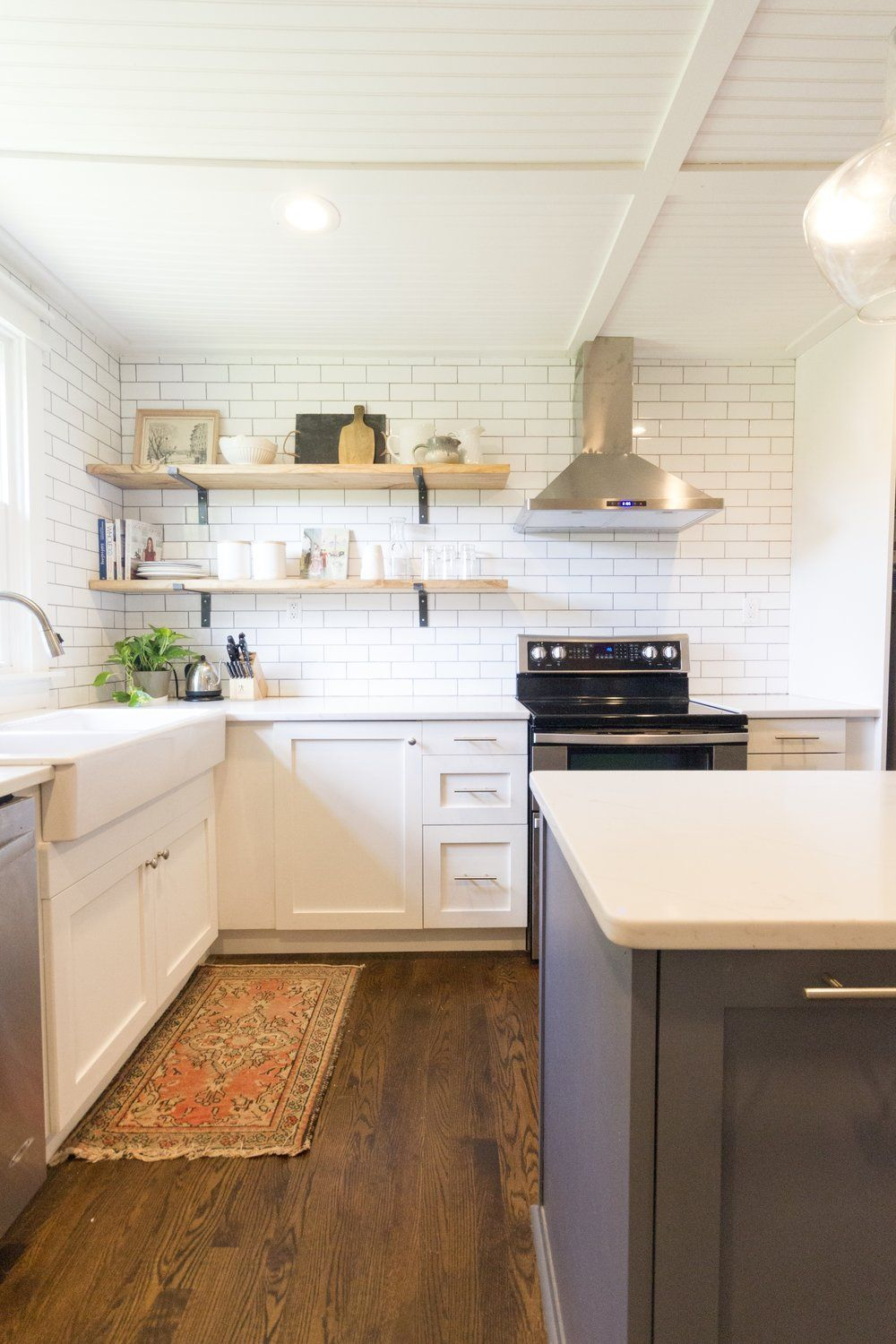 Beautiful Peach and Pine Home Kitchen Remodel. White ...