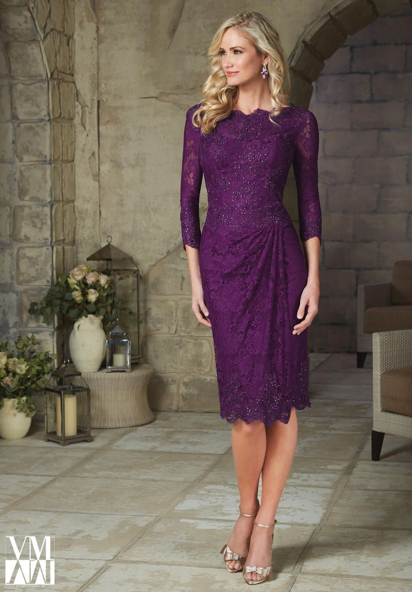 VM Collection 71238 Cocktail length three quarter sleeve Beaded ...