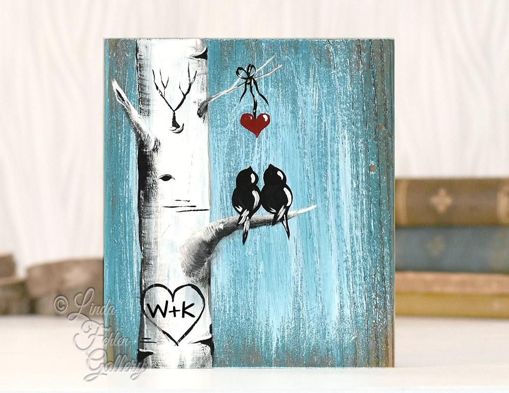 Unique 5th Anniversary Gift For Couple Love Birds Painting Bird