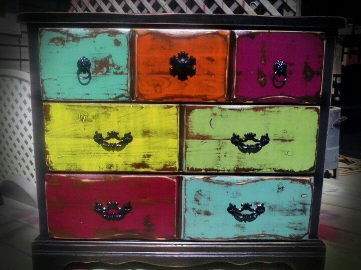 Black Chest Of Drawers With Multi Colored Drawers All Distressed And Poly  Coated.