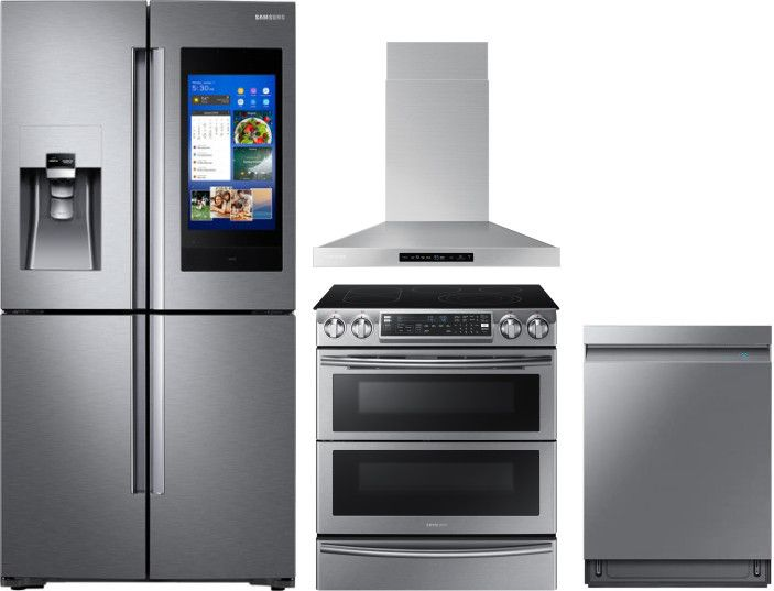 Samsung Sareradwrh3 4 Piece Kitchen Appliances Package With French Door Refrigerator Electric Range And Dishwasher In Stainless Steel Kitchen Appliance Packages Kitchen Appliances French Door Refrigerator