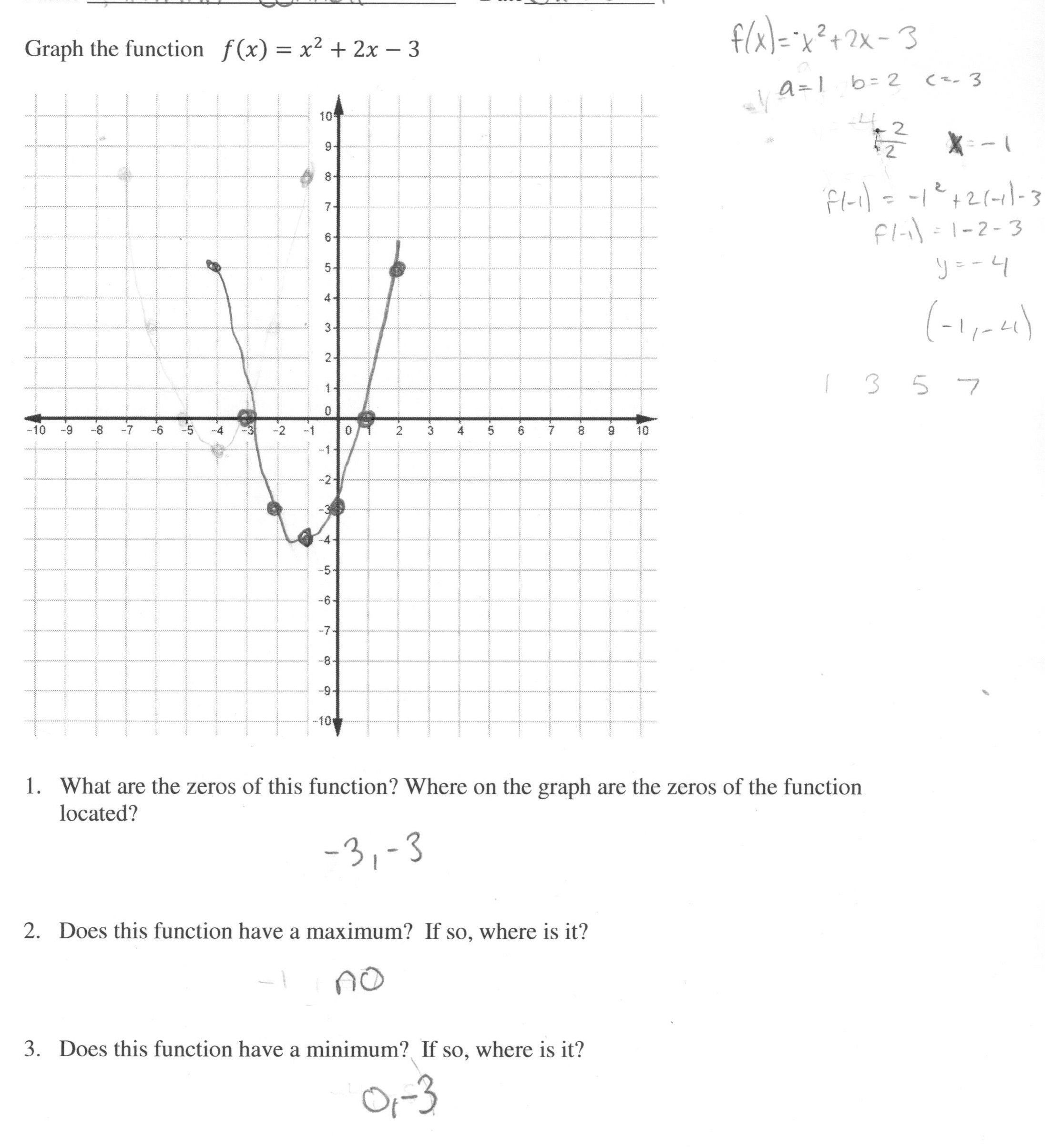 1 Graphing Quadratic Functions Worksheet Answers Algebra 1