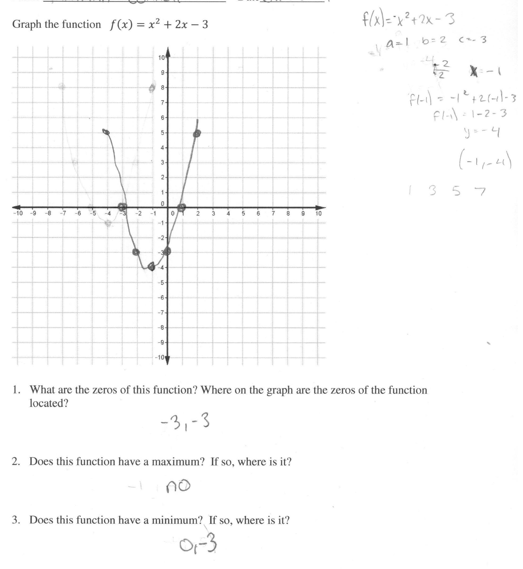 1 Graphing Quadratic Functions Worksheet Answers Algebra 1