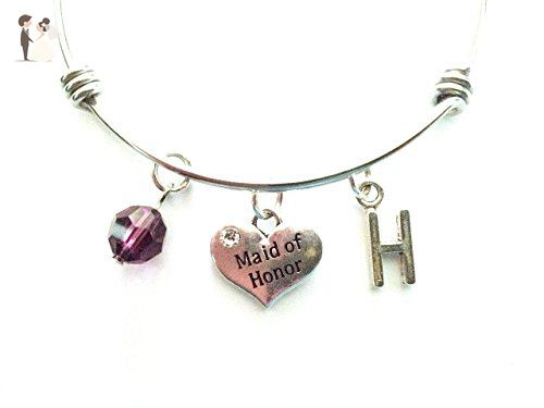 Maid of Honor themed personalized bangle bracelet. Antique silver charms and a genuine Swarovski birthstone colored element. - Wedding bracelets (*Amazon Partner-Link)