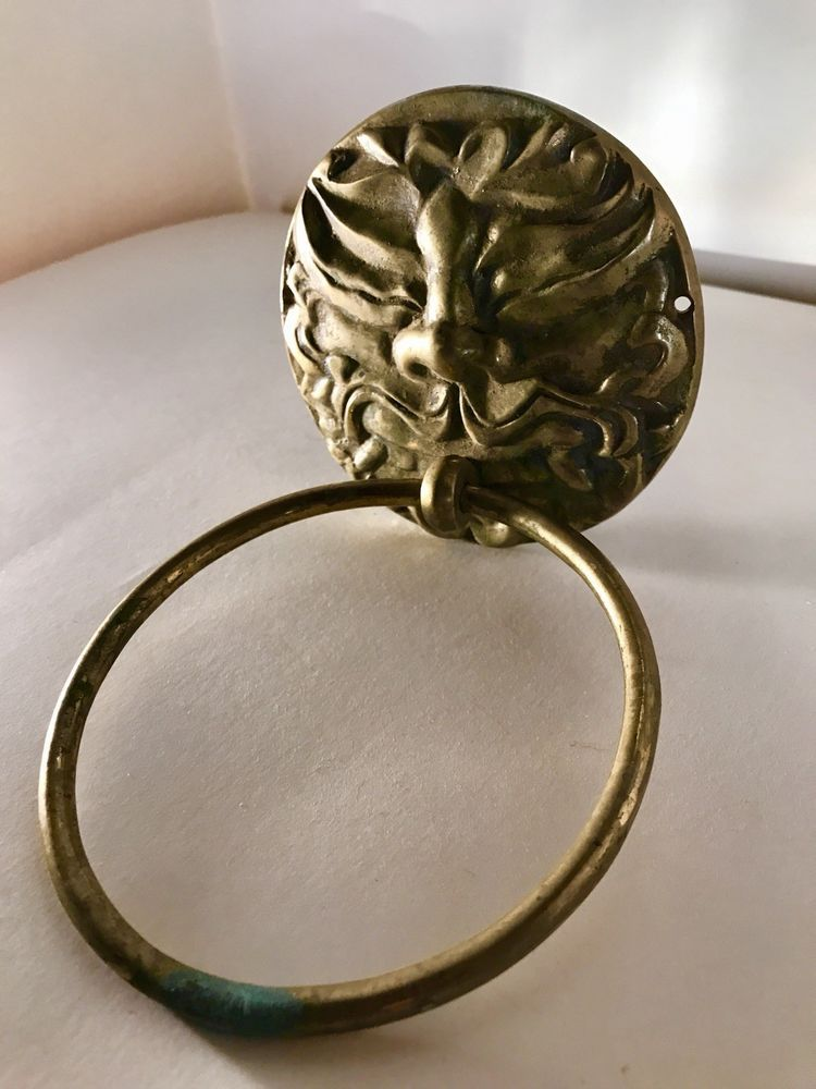 Antique Brass Towel Holder Asian Stylized Lion Head Wall Mount Aged Patina Ebay Antique Brass Towel Holder Antiques