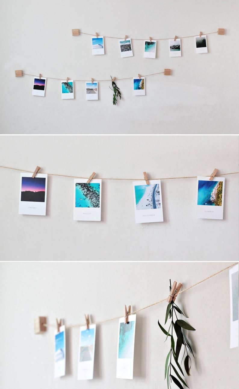 Wooden Photo Wall Display With Mini Clothespins Vertical Horizontal Picture Polaroid Display Hanging Photo Twine Photo Holder In 2020 Photo Wall Display Wall Display Photo Wall