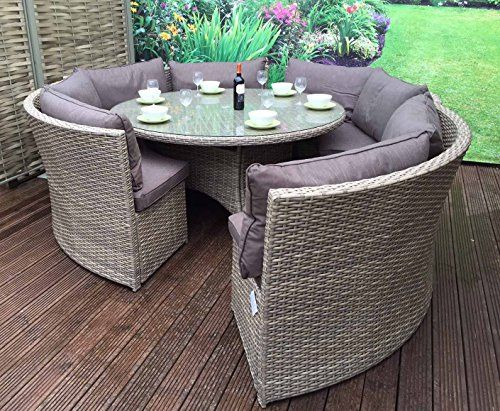 Excellent Homeflair Rattan Garden Furniture Chloe Grey Round Corner Inzonedesignstudio Interior Chair Design Inzonedesignstudiocom