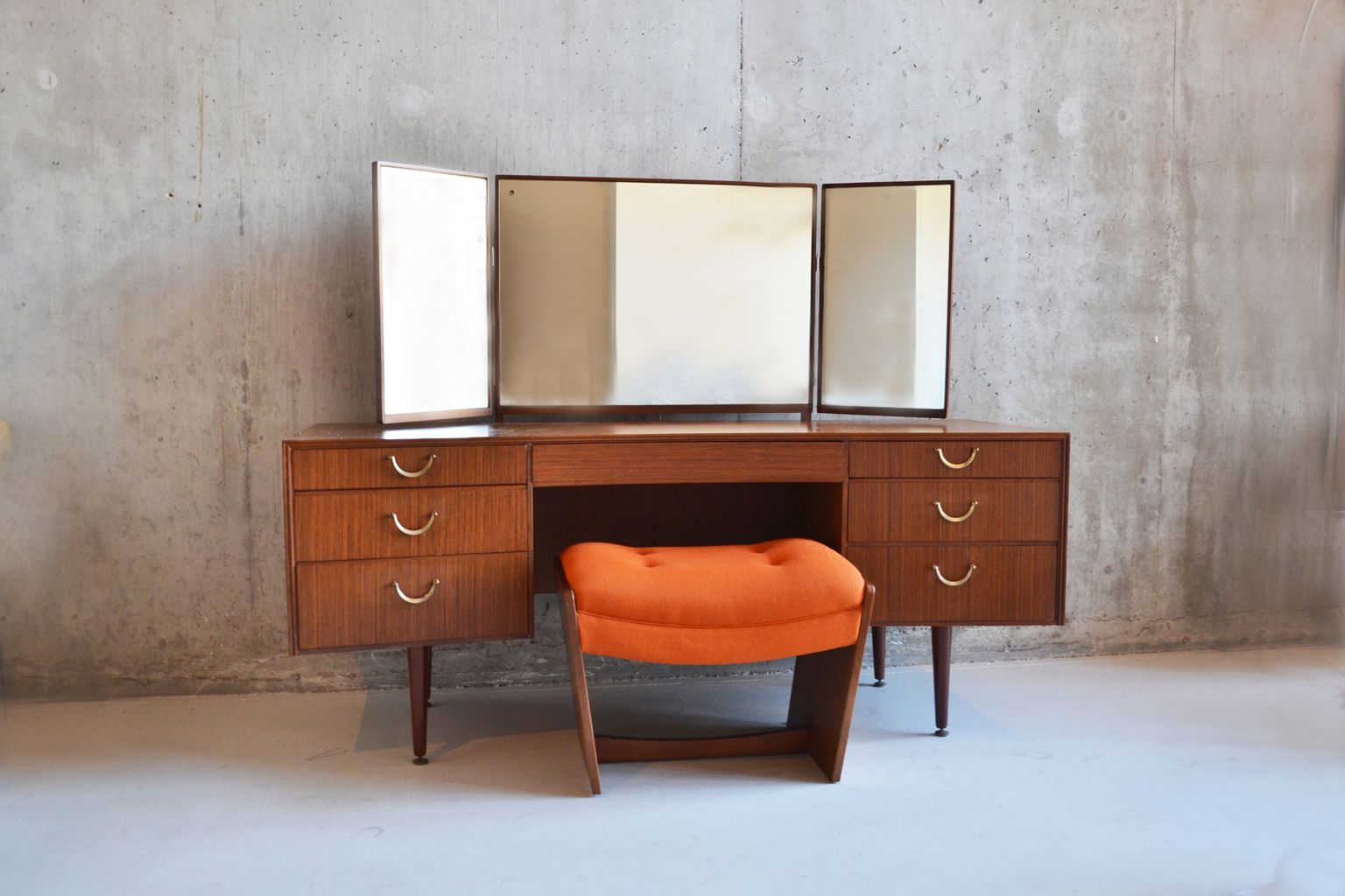 Mid Century Meredew Dressing Table With Matching Stool