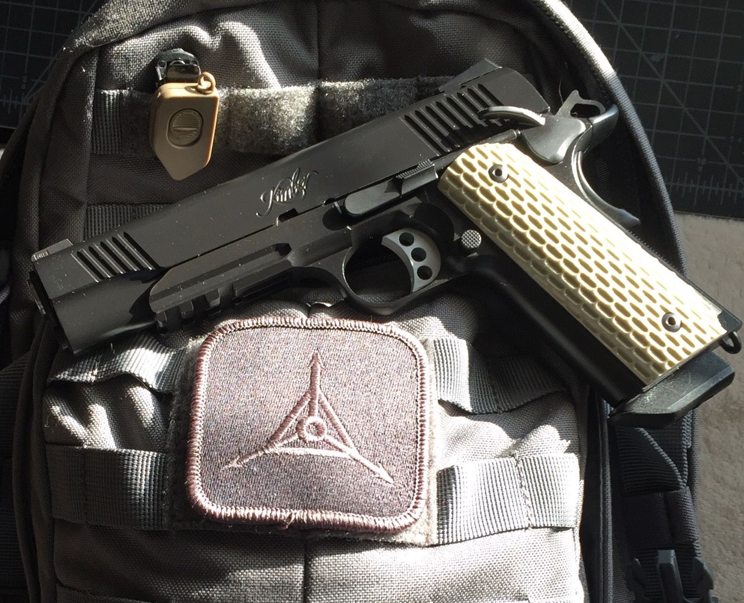 My new Kimber Warrior 1911  45 ACP and TAD patch  This