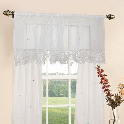 Daisy Design Sheer Three Piece Kitchen Curtain Set Color Beige By