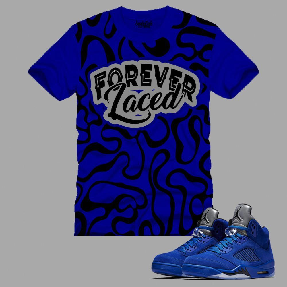 af78a5a4c64b77 FOREVER LACED SEAMLESS T-Shirt to match Jordan 5 Blue Suede  sneakersjordans