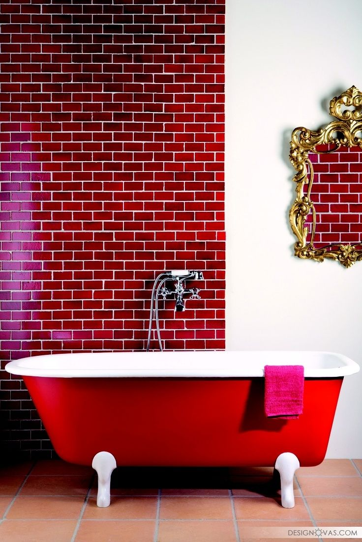 Graue nasszellenfliesen Красная ванная комната   идей дизайна ванны в красных тонах
