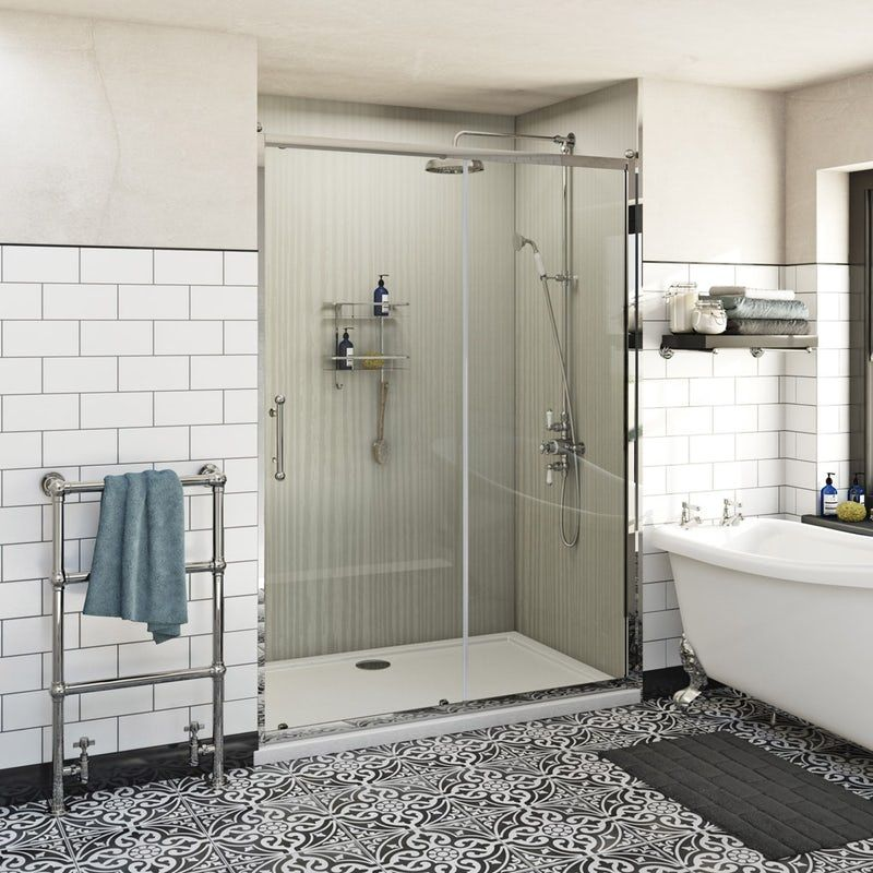 The Bath Co Winchester Traditional 6mm Sliding Shower Door Traditional Bathroom Rectangular Shower Enclosures Shower Enclosure