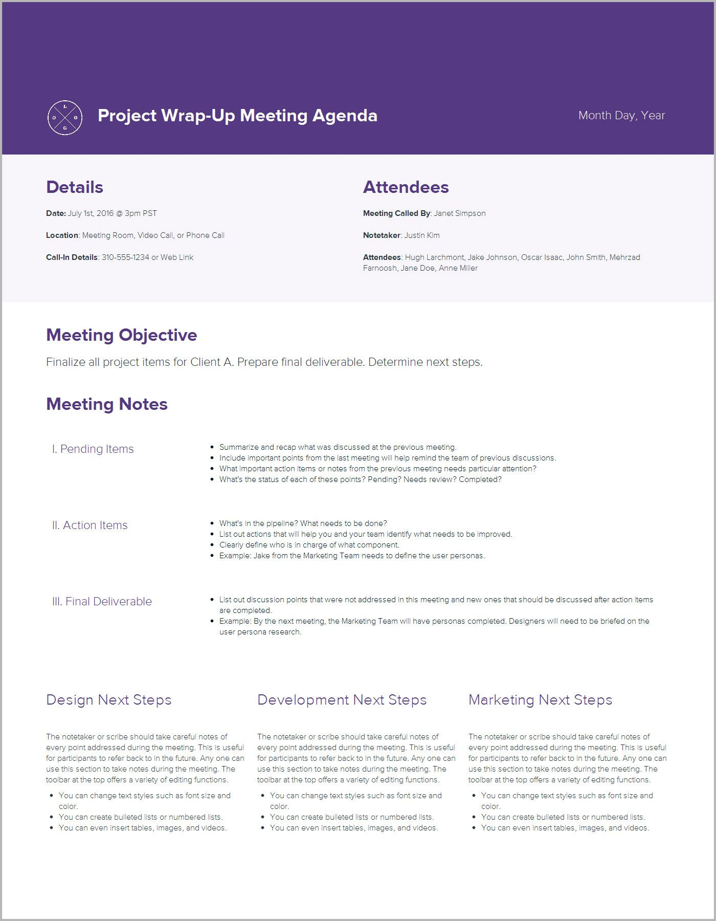 Meeting Agenda Template By Xtensio ItS Free  Increase