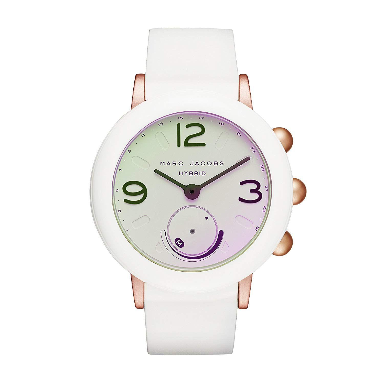 Marc Jacobs Women S Riley Aluminum And Rubber Hybrid Smartwatch Color Rose Gold Tone White Model Mjt1000 Quartz Marc Jacobs Silver Watch