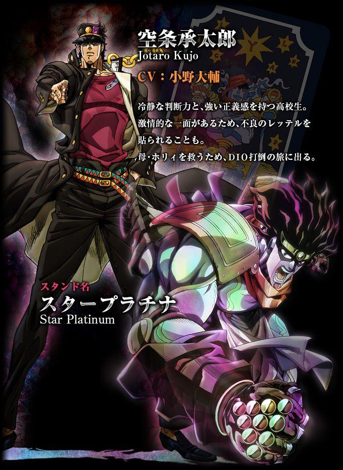 Jotaro Kujo and his Star Platinum of Jojo's Bizarre Adventure